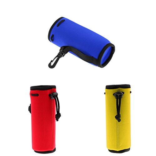 Sharplace 3pcs Néoprène Isolé Sport Bouteille d'eau Couverture Poche Sac Bleu Jaune Rouge 500ml