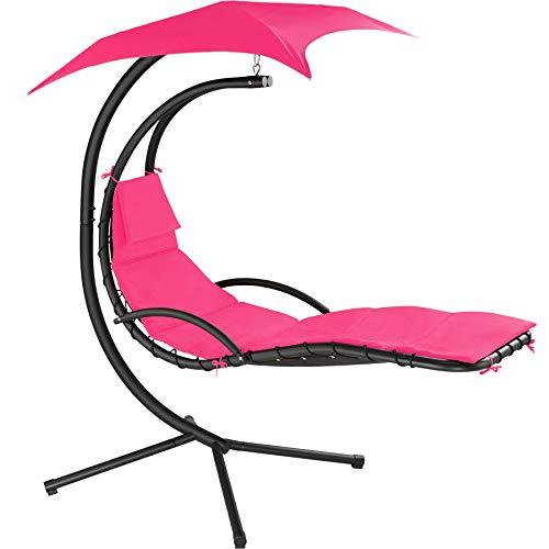TecTake 800699 Hängeliege mit Gestell und Sonnendach mit UV Schutz, 195 x 118 x 202 cm, ergonomisch geformte Liegefläche, inkl. Sitz- und Kopfpolster - Diverse Farben – (Pink | Nr. 403383)