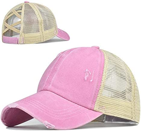 Top Hats for Women Baseball Caps with Mesh Back Trucker Hats Ponytail/High Messy Bun Ponycap Dad Hats (Pink)