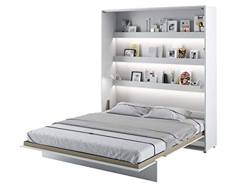 Mirjan24 Schrankbett Bed Concept, Wandklappbett inkl. Lattenrost, V-Bett, Wandbett Bettschrank Schrank mit integriertem Klappbett Funktionsbett (BC-13, 180 x 200 cm, Weiß/Weiß Hochglanz, Vertical)