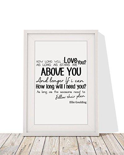 Canción How Long Will I Love You imagen enmarcada
