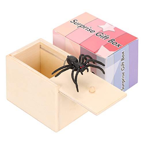 98K Spider Prank Scare Box, Wooden Surprise Box, Handmade Fun Money Gift Box Practical Surprise Joke...