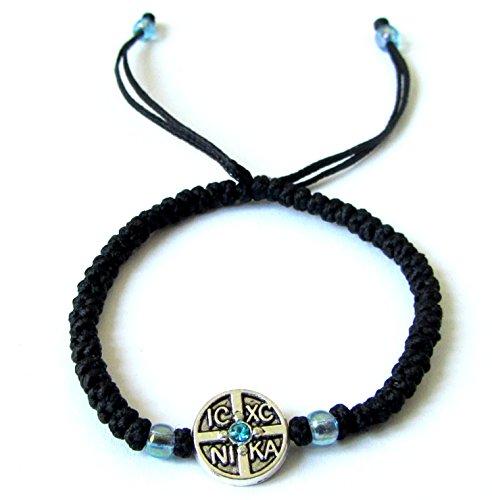 Iconsgr Handmade Christian Orthodox Komboskoini Prayer Rope Bracelet Black BR1