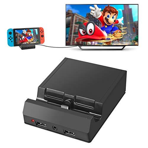 AUTOUTLET Nintendo Switch TV Docking Station, Switch Dock Ladestation für Nintendo Switch, USB C Stromanschluss, Tragbarer Ladeständer mit 4K HDMI USB 3.0 Port und 3.5 Headphone Jack