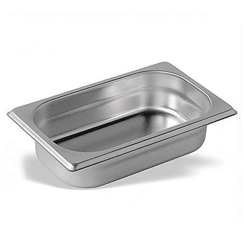 Cubeta Acero Inoxidable GN Gastronorm 1/4 (60 mm) | Bandeja Alimentos a Granel (Profundidad 60mm) (Espesor 0,7mm) (Dimensiones 162x265mm) | Alimentos Fríos y Calientes