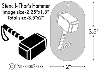 Stencil- Thor's Hammer, 2.25x1.3 Inch Image on 3.5x2 Border, Size 1