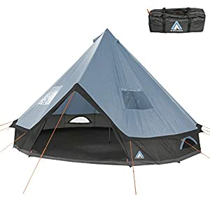 10T Outdoor Equipment Unisex - Adult Camping Tent Mojave 400 Arona XXL Tipi Tent Waterproof 4-8 Man Round Tent Indian Tent Diameter 4m Blue