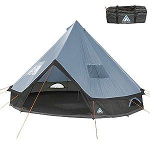 10T Outdoor Equipment Unisex - Adult Camping Tent Mojave 400 Arona XXL Tipi Tent Waterproof 4-8 Man Round Tent Indian Tent Diameter 4m Blue