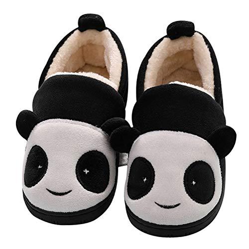 Kids Boys Girls Winter Slippers Children Slipper Warm Fleece Anti-Slip Bedroom Slippers Comfort Home Shoes Panda Black 10/11 UK Child