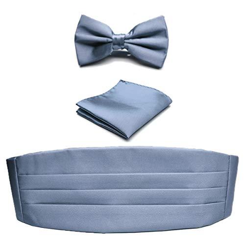 KOOELLE Herren-Kummerbund-Set mit Fliege und Taschentuch Gr. Einheitsgröße, grau
