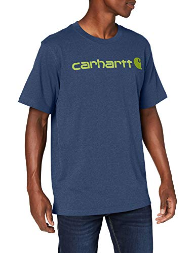 Carhartt Core Logo Workwear Short-Sleeve T-Shirt Camiseta, Dark Cobalt Blue Heather, S para Hombre