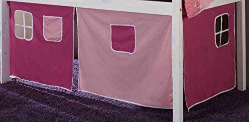 Vorhang Hochbett Kinderbett Stoff 3-teilig Pink, rosa incl.Kebeklett ohne Aufdruck