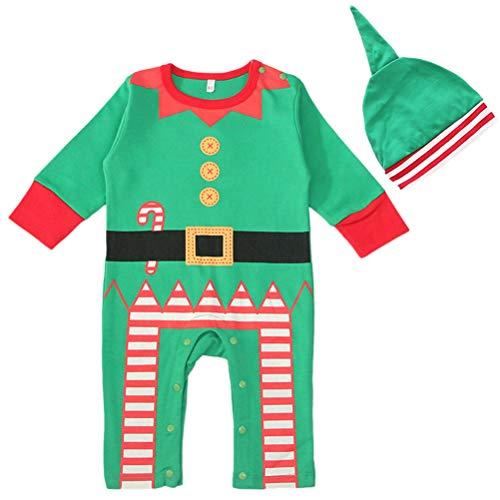 BESTOYARD Baby Elf Kostüm Baby Elf Strampler mit Elf Hut Kleinkind Kinder Baby Weihnachten Kostüm Größe L 2 Stück (Grün)