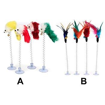 kangOnline Jouet interactif multicolore pour chat avec plumes à ventouse