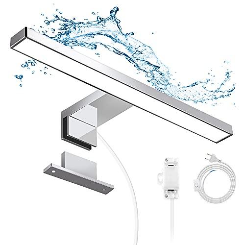 Apliques Espejo Baño LED Impermeable IP44, Hommie 30cm con Interruptor Cableado y Inalámbrico, Luz Espejo Baño 4000K 350LM Blanco Neutro, para Baño, Armario, Pared,Lámpara de Espejo Baño 300*103*40mm