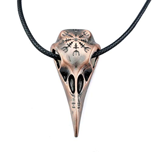 URBANTIMBER Wikinger Halskette Hugin & Munin Schädel mit Helm of Awe - Silber oder Bronze