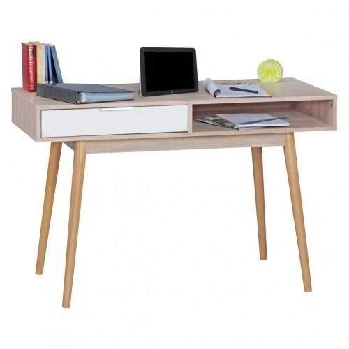 WOHNLING Schreibtisch Design Computertisch Schublade Sonoma/Weiß Tisch Modern mit Fächer Bürotisch Ablage 120 cm Scrivania, Legno, Bianco, 120 x 55 x 79 cm