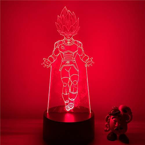 3D Lámpara óptico Illusions Luz Nocturna Dragón Anime 7 Colores Cambio de Botón Táctil y Cable USB para Cumpleaños, Navidad Regalos de Mujer Bebes Hombre Niños Amigas