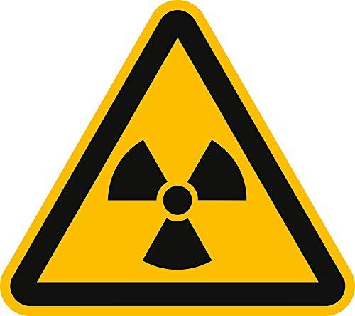 Aufkleber Warnung vor radioaktiven Stoffen gemäß ASR A1.3 / DIN 7010 Folie selbstklebend 10 cm (Warnschild, radioaktiv) praxisbewährt, wetterfest