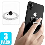 3 Pack Transparent Phone Ring with Diamond, Tomorotec Clear Cell Phone Ring Holder Stand with Black Car Mount Hook - for iPhone 11 X XR XS 8 7 Plus 6S 6 5s 5 SE, Galaxy S8 S7 S6 Edge (Silver)