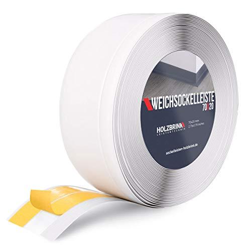 HOLZBRINK Battiscopa Autoadesivo Morbido Bianco Striscia in PVC Spezzata, 70x20 mm, 25 m