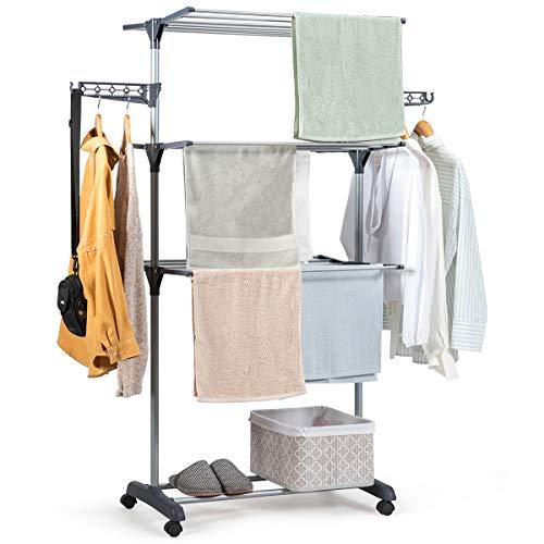 COSTWAY Wäscheständer faltbar, Wäschetrockner rollbar, Standtrockner, Kleiderständer mit Faltregalen, Schuhablage, schwenkbaren Haken (Grau)