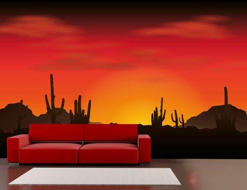 Fototapete Kakteenwüste 420 x 270 cm Wandgestaltung Wanddekoration Fototapeten