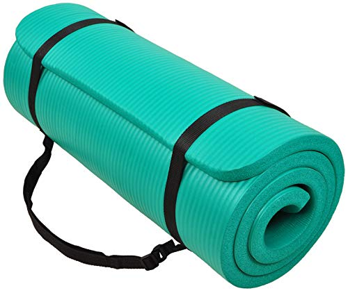 BalanceFrom GoCloud AllPurpose 1Inch Extra Thick High Density AntiTear Exercise Yoga Mat with Carrying Strap Green