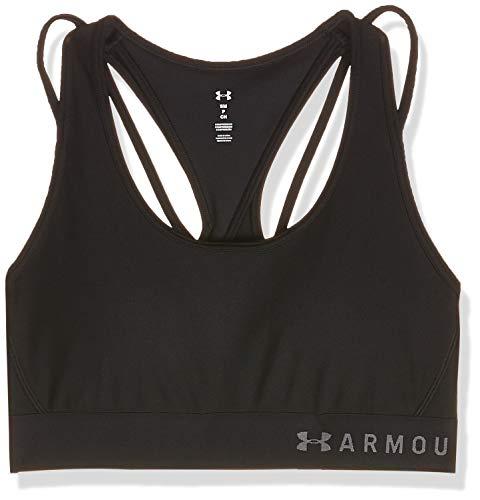Under Armour Damen Armour Mid Crossback Strappy Bra Sport, Schwarz, Medium