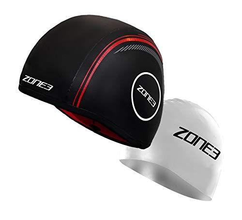 ZONE3 Neoprene Strapless Swim Cap (Black/Red, Small)