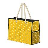 Bolsa de playa grande y bolsa de viaje para mujer – Bolsa de piscina con asas, bolsa de semana y bolsa de noche – moderno patrón de puntos abstractos amarillo