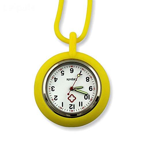 KJFB - Reloj de enfermera con broche de silicona para enfermera, reloj de bolsillo con movimiento de bolsillo para enfermera, color amarillo