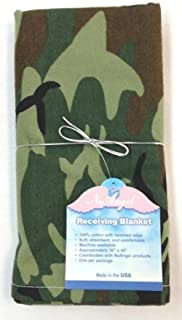 NuAngel Baby Receiving Blanket, Green Camo, 100% Cotton Flannel, Made in USA