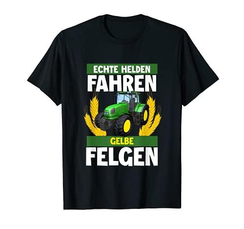 Bauer Traktor Landwirt Kind Echte Helden Fahren Gelbe Felgen T-Shirt