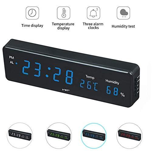 Despertador Digital LED para Uso doméstico con higrómetro de Temperatura, Reloj de cabecera electrónico con 3 alarmas, Reloj de Pared para Sala de Estar, Cocina, Oficina, Exteriores/ocasio