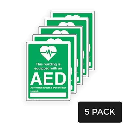 Dit gebouw is uitgerust met een AED teken Stickers, Vinyl Waring Stickers Lable,Private Property Sign Sticker,Safety Stickers,5 Pack, 150mm x 200mm