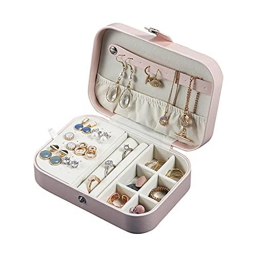 WNAVX Mini Caja de Viaje Organizador Caja Caja de Almacenamiento Chica portátil PU Anillo de Pendiente de Cuero Collar de joyería de joyería Organizador (Color : Update Pink)