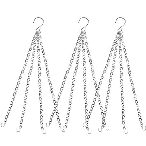Heybe 3Pcs 20 Inch 4 Leads Stainless Steel Hanging Basket Chains, Replacement Hanging Chain with Hooks