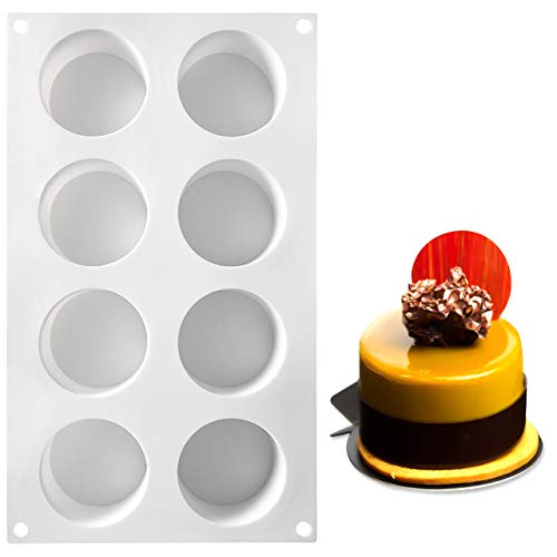 AiChef Silicone Mold for Baking High Cylinder Mold Chocolate Mousse Cake Dessert Molds 8 Cavity