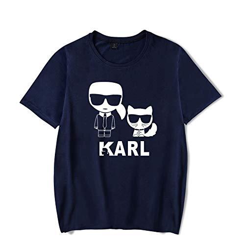 T-Shirt Mode Karl Lagerfeld Drucken Kurze Ärmel T-Stück Beiläufig Lose Trikot Unisex/Blau/M