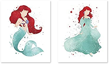 8x10 P37 The little mermaid poster Ariel - 8x10 Watercolor Painting Paper Print - Nursery wall art - Kids poster. Home art. Baby