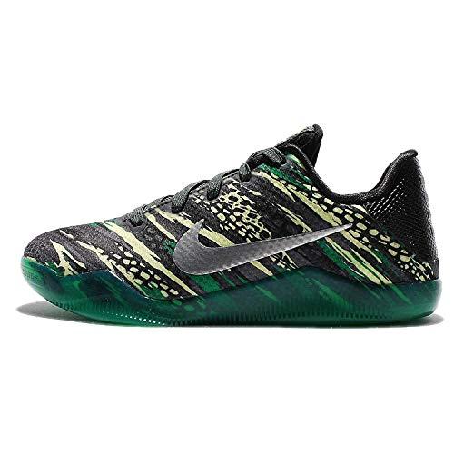 Nike Kids Kobe XI GS, ANTHRACITE/METALLIC SILVER-BLACK-LUCID GREEN, X-Large Big Kid