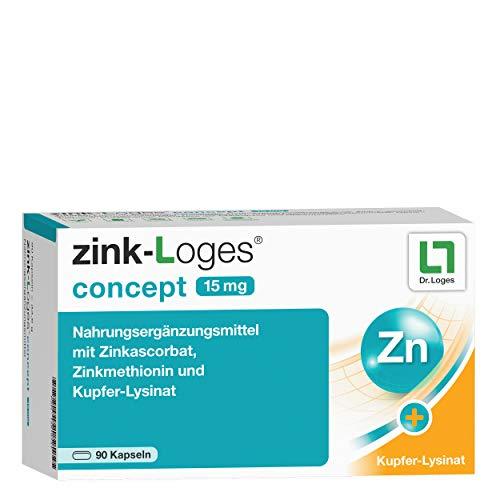 zink-Loges® concept 15 mg 3-Monatspackung - Für Haut, Haare, Nägel, Immunsystem - Spezielle Kombination aus organischem Zink-Methionin, Zink-Ascorbat + hochwertigem Kupfer-Lysin-Komplex - 90 Kapseln