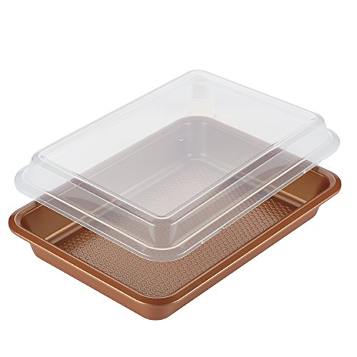 Ayesha Curry Nonstick Bakeware Nonstick Baking Pan With Lid / Nonstick Cake Pan With Lid, Rectangle - 9 Inch x 13 Inch, Brown, Copper