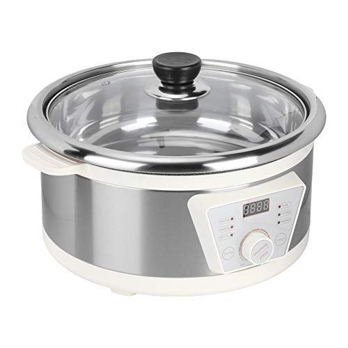 Slow Cooker 4Litri Pentola per Cottura Lenta, ABS, 1300 W ad Alta Potenza Elettrico Fornello Lento, con Rivestimento Incorporato, 30,5 x 19 cm(EU 220V)