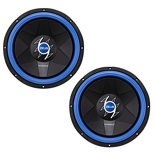 Hifonics ZG12D4 Zeus Gamma 12 Inch 800 Watt Power Max Dual Voice Coil Mobile Car Audio Subwoofer, Black (2 Pack)