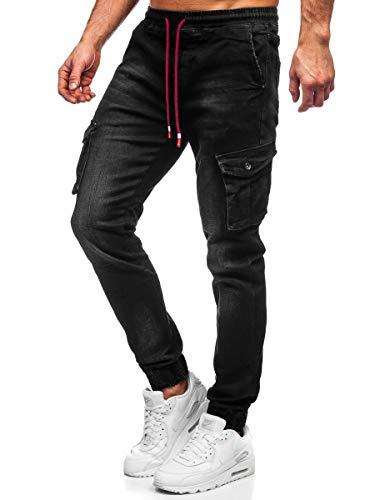 BOLF Hombre Pantalón Vaquero Jogger Denim Jeans Pantalón de Mezclilla Sombreado Vaqueros de Algodón Slim Fit Estilo Urbano Ritter 61037W0 Negro L [6F6]
