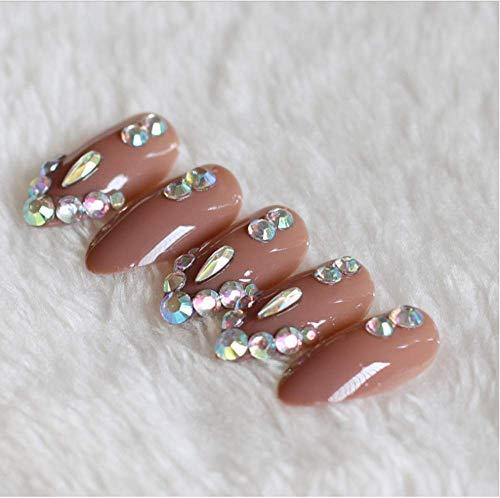 Valse nagels, nep nagels, Franse acryl stijl kunstmatige nep kunst nagels Tips, voor vrouwen meisjes, fijne hoge hak 24 Stks gevuld met kristal diamant bruin