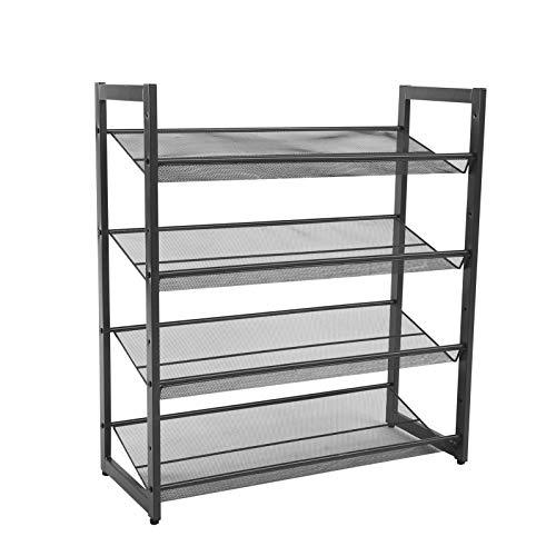 4 Tier Metal Steel Mesh Shoe Rack, Multi-Functional Shoe Tower Shelf, Shoe Storage Organiser for Living Room, Entryway, Hallway and Cloakroom, 74 x 30.5 x 81 cm, Grey (Freestanding unit, Stackable)