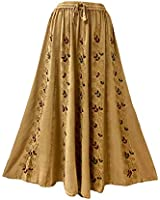 Agan Traders 712 SK Boho Medieval Embroidered Long Skirt (S/M, Camel C)